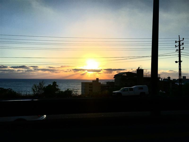 Sunsets beyond the  traffic ☀️🌊  lebanonweather  weather  weathernews ... (جونية - Jounieh)