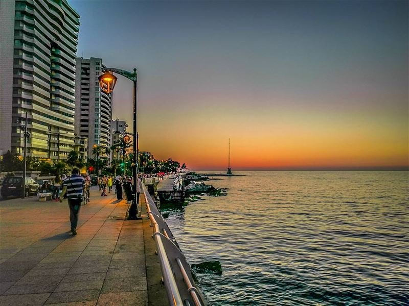 A  sunset walk after a long  monday ............ Lebanon ... (Ain El Mreisse, Beyrouth, Lebanon)
