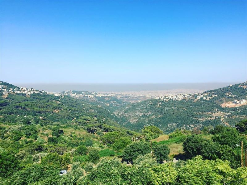 nature  green  trees  blue  sky  village  sea  ocean  pollution  town ... (Abadiyeh, Lebanon)
