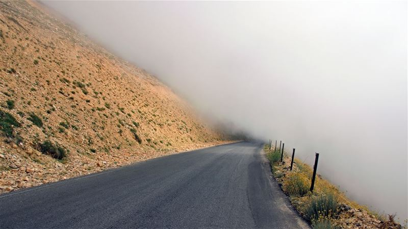 Drive through the Unknown foggy  roads  mountains  lebanon  unseen ...