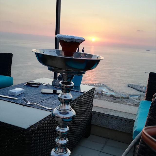 It is  shisha  time  sunset  rooftop  seaviews  panoramic  relaxingday ... (Rotana Raouche Arjan)
