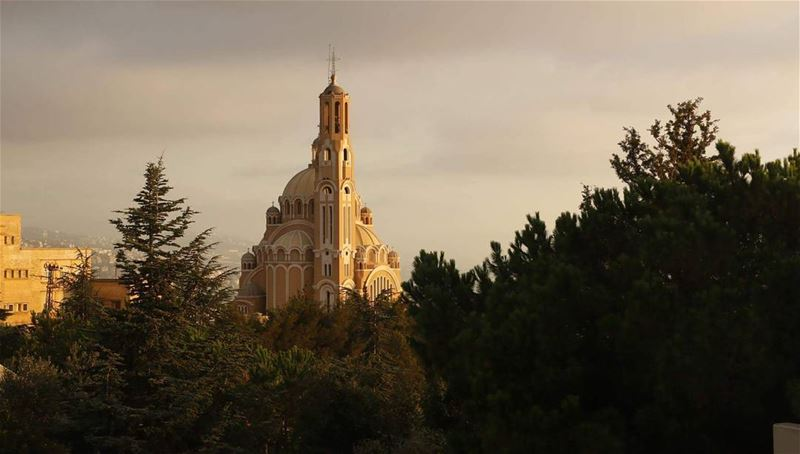 Needle above the forest... cathedral  cathedralstpaul  greek  melkite ... (Harîssa, Mont-Liban, Lebanon)