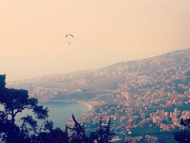 I believe i can  fly harissa  livelovejounieh  paragliding ... (The Lady of Lebanon - Harissa)