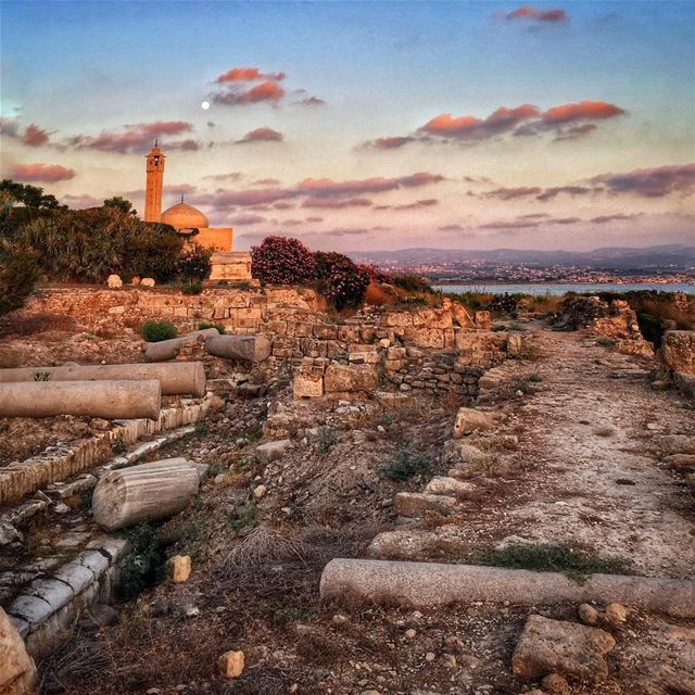 Roman times... sunset  sunday  historic  mosque  sour  lebanon  tyre ... (Tyr , Liban)