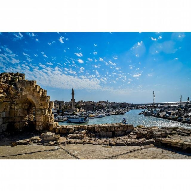 saida  lebanon  blue  sky  clouds  castle  historic  touristic  city  sea...