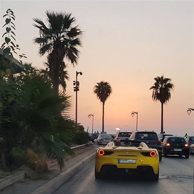 Is this Miami Beach? Noooo! !! That's Corniche Beirut:))) yellow  fastcar... (Beirut, Lebanon)