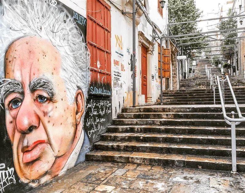 "St. Nicolas Stairs, Gemmayze Beirut 🇱🇧..Graffiti of ""Said Akl"" one of... (Beirut, Lebanon)"