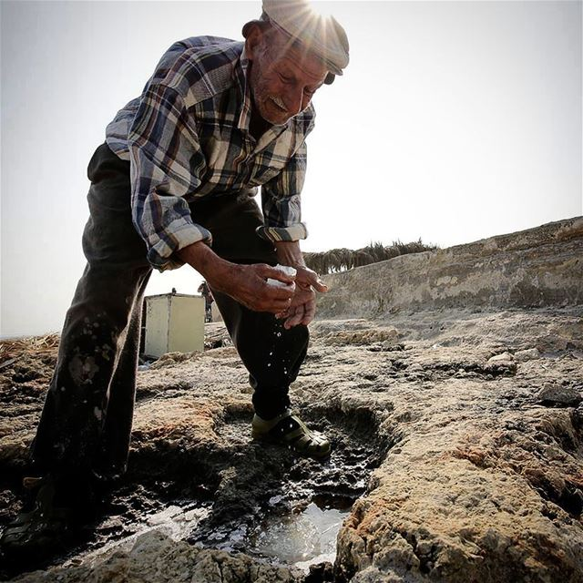 Let there be salt - Elias (93) demonstrates naturally occurring salt at...
