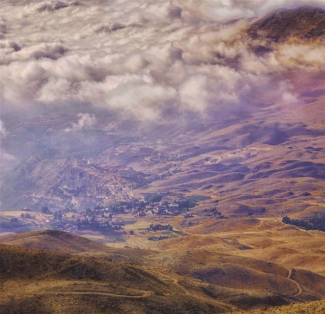 landscape nature naturelovers fog clouds mountain valley lebanon cedars...