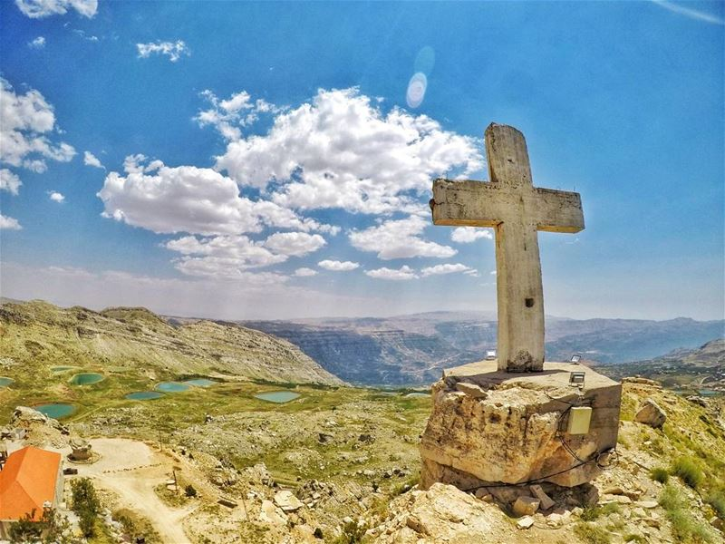"💙🙏🕇🙏💙 ""Pray about everything to the Lord, to our most pure Lady, and... (Akoura, Mont-Liban, Lebanon)"