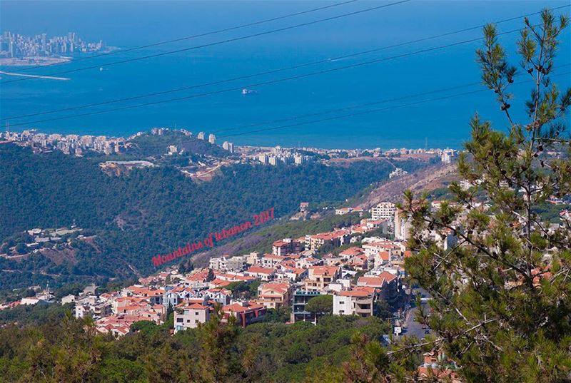 The picturesque effect of Red Tiles between the lush green forests and the... (Jeita-Keserwan)