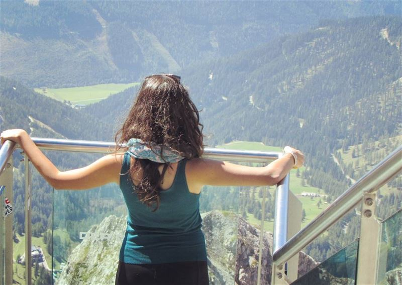 girl at the  alps  dachstein 💚⛰ from above perfect  mountains  austria ... (Dachstein glacier)