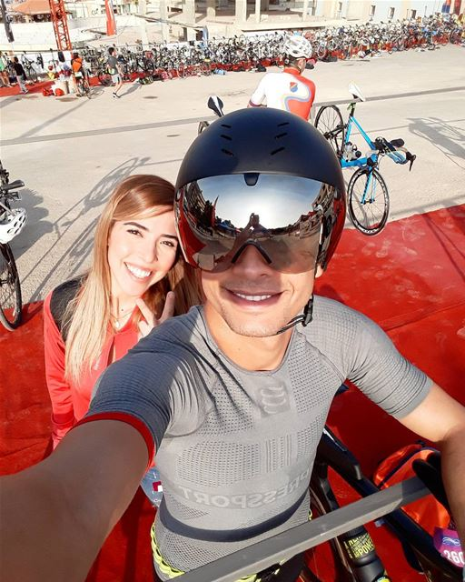 Prerace selfie at Batroun Triathlon with @ramy.nachar  happyfaces📸 👫❤....