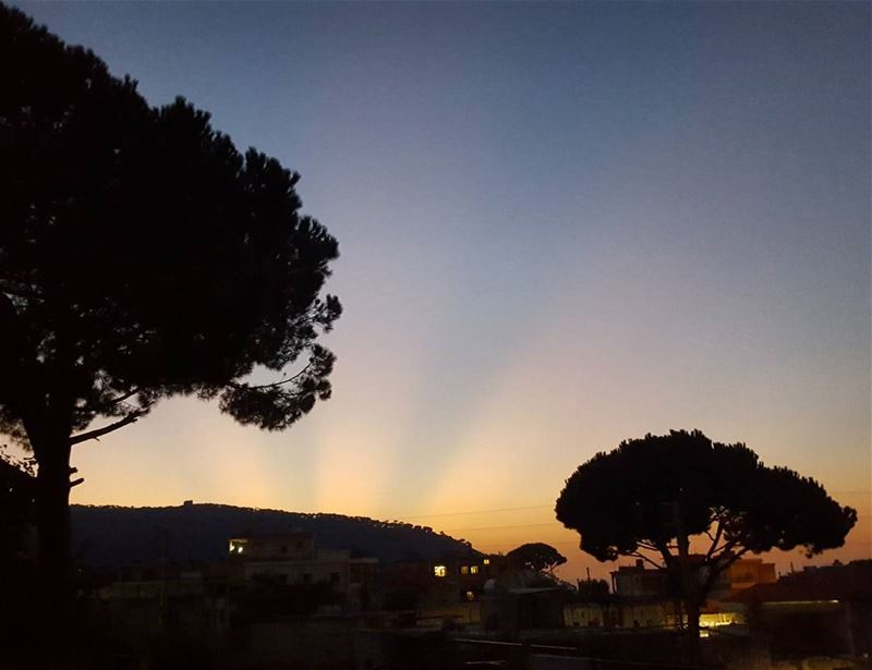 rays sunset nature blue  sky sunnyday  pinetrees  photooftheday best... (Bzébdîne, Mont-Liban, Lebanon)
