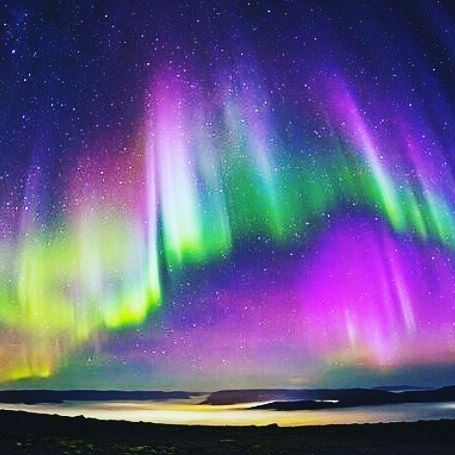 Beautiful aurora!Aurora is formed when electrically charged particles(elec