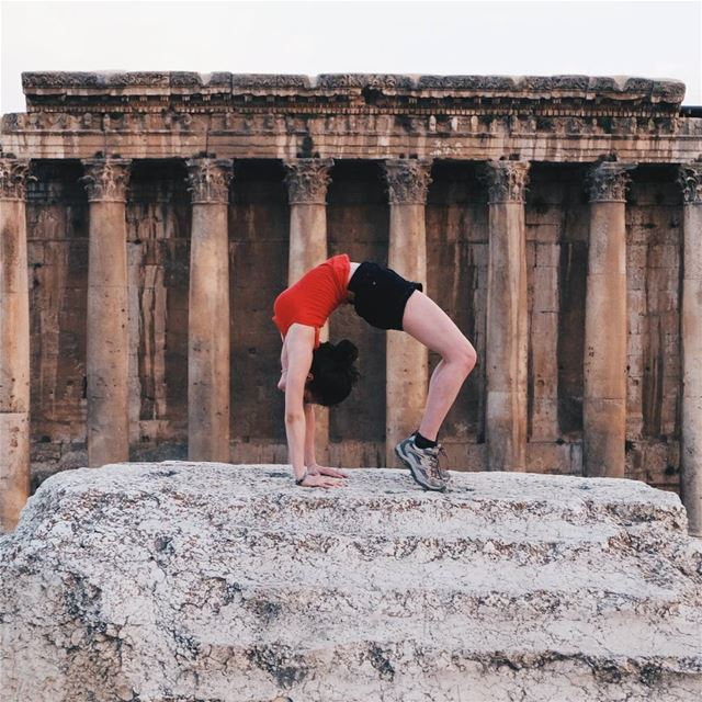 """Bending over backwards for the sake of a good shot"" baalbeck ... (Baalbek, Lebanon)"