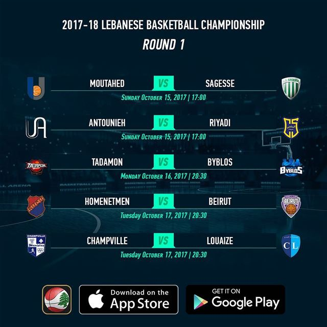 2017-18 Lebanese Basketball Championship - Round 1 - Schedule - Download...