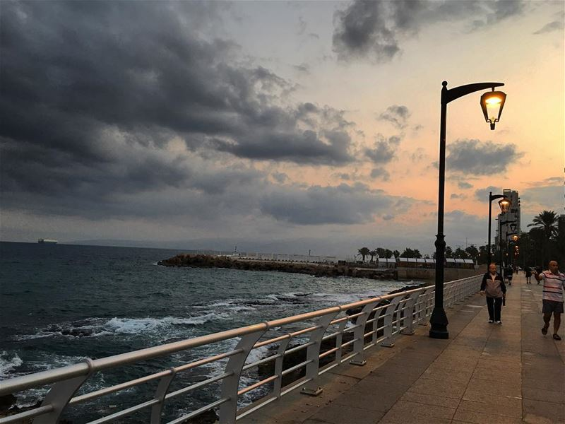 Good morning  sea  ocean  walk  sports  beirut  cloud  rainbow ... (Manara Palace Café)