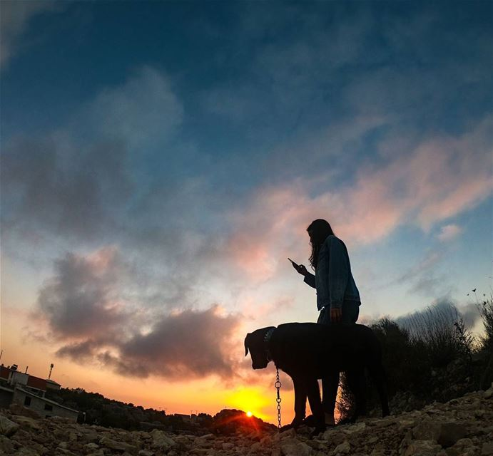 What's better than watching a sunset? Watching it with your dog ❤ ... (Mount Lebanon Governorate)