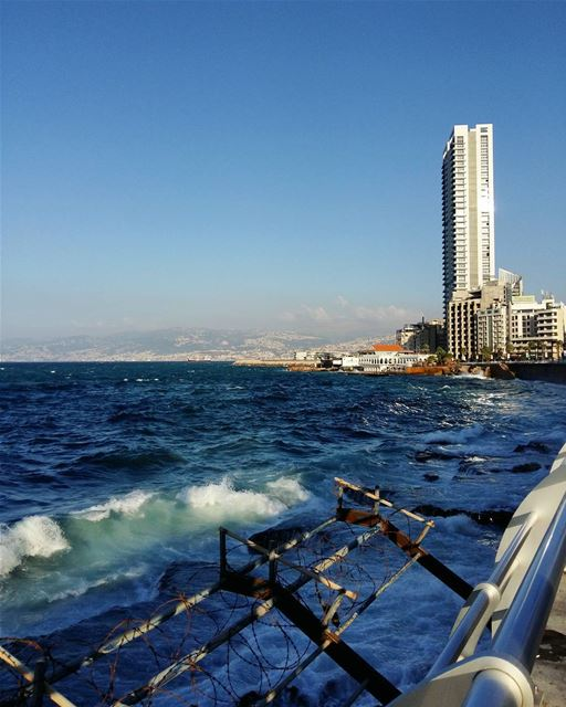 💙••• lebanon beirut sunny beach beachlife sea seaside seaview... (عين المرسيه)