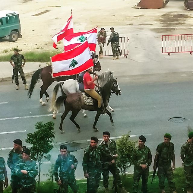 lebanese  army  horse  riding  flag  rising  rehearsal  downtown  ...