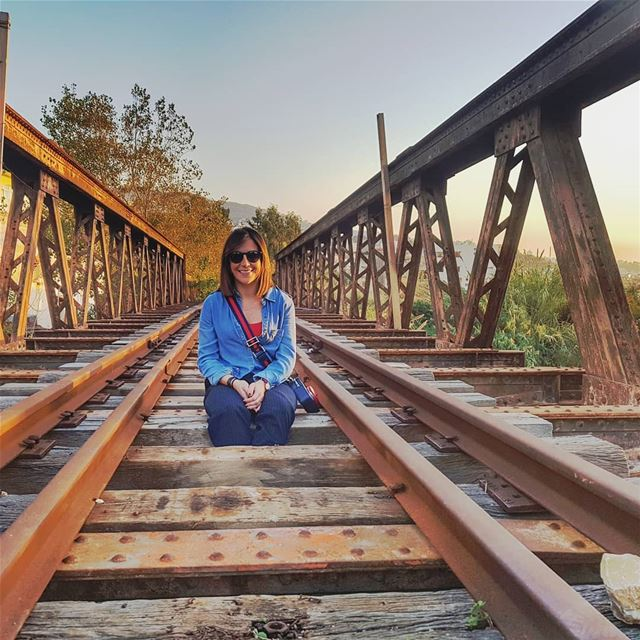 It looks an easy  pose but actually the  railroad is not as  safe as it... (Nahr Ibrahim, Mont-Liban, Lebanon)