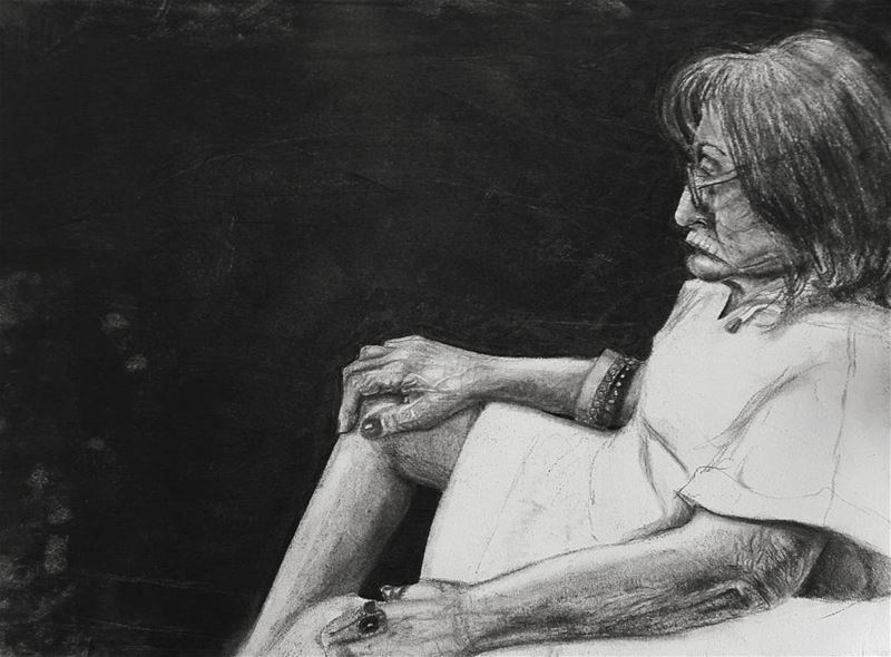 """Renaissance"". Charcoal on A2.  charcoal  drawing  woman  old  lady ..."