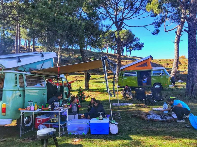 "Who wants to glamp (glamorous camp) with us next time?🏕🚌 Comment ""innn""... (Bkâatouta, Mont-Liban, Lebanon)"