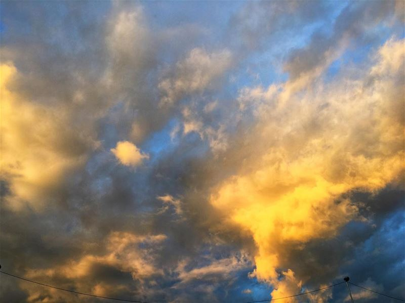 Just look up and say  grace !!  clouds  cloudsporn  skies  bkue  yellow ...