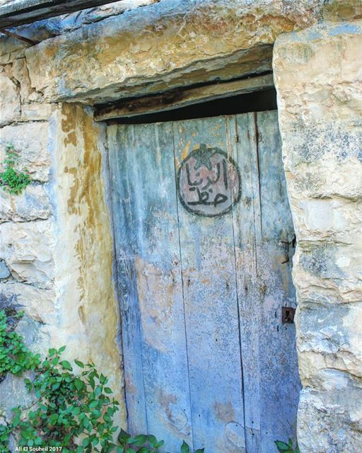 الدنيا حظ  tb  door  old  wood  texture   nature   southlebanon  colorful ... (`Azour, Al Janub, Lebanon)