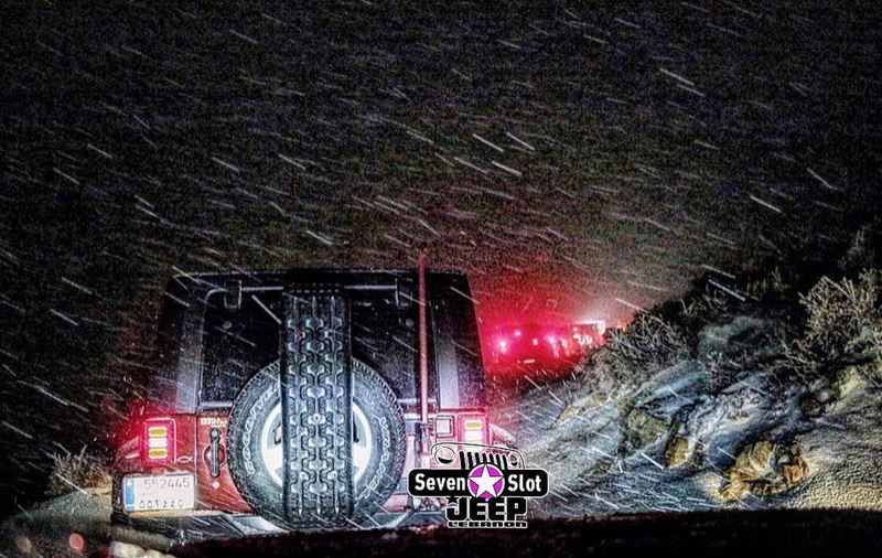 O|||||||O Her nights 🌨❄️  lebanon  mountains  jeep  offroad  wrangler ... (Mount Sannine)