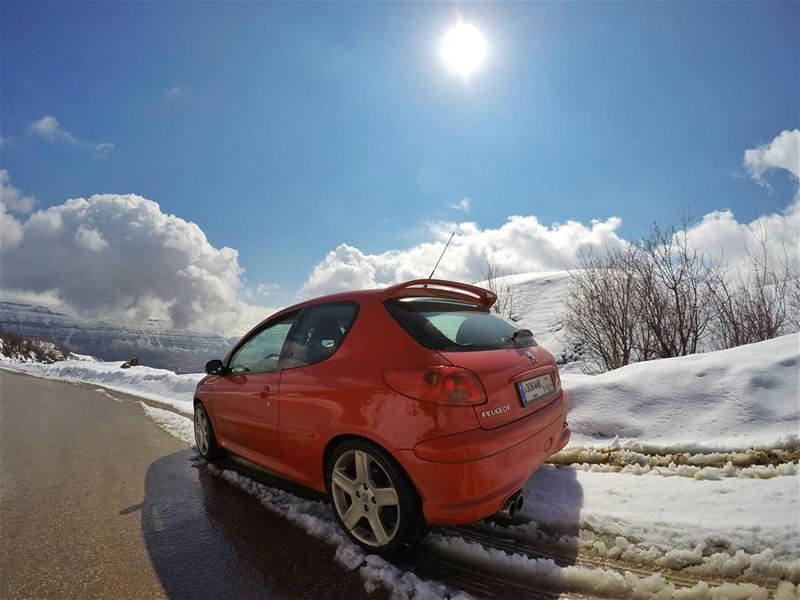 cars  red  peugeot  snow  road  mountain  livelovelebanon ...