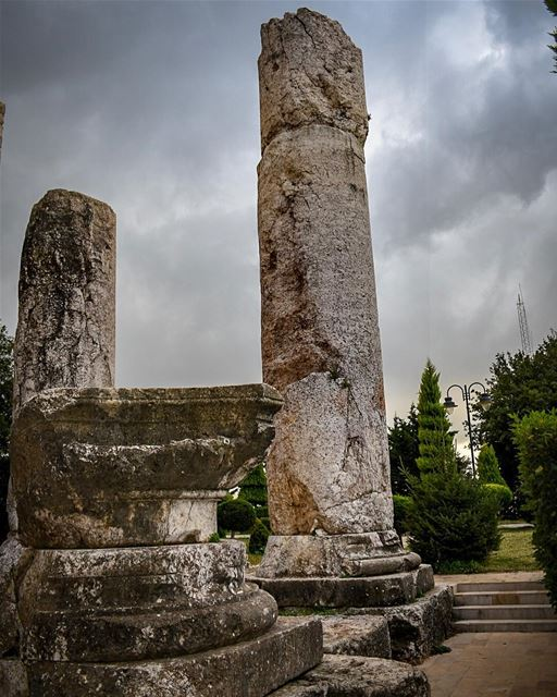The remains of the Giant Columns and Bases at the Beit Mery Phoenician... (Beit Meri, Mont-Liban, Lebanon)
