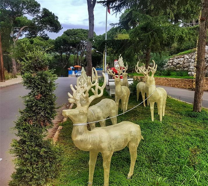 Caught Santa resting during the day 🎄🔔 santa  christmas  reindeer ... (Mar Chaaya Broumana)