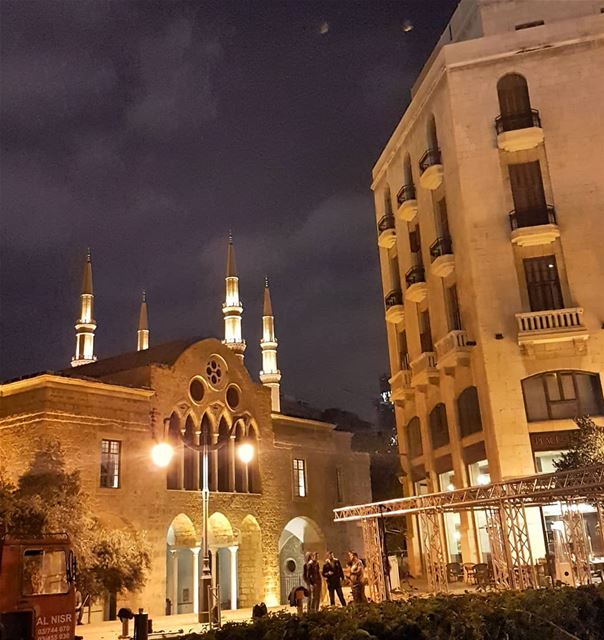 Cathedral with mosque minarets.  Beirut.. lebanon  archaeology  travel ... (Downtown Beirut)