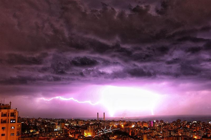 jounieh  keserwan  lebanon  beirut  zouk  night  winter  Lightning ...