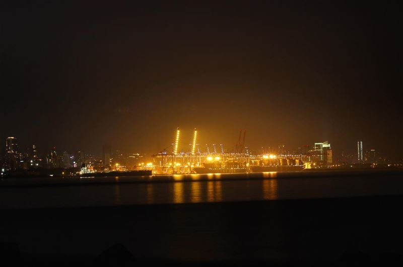 night  lights  sea  water  reflection  beirut  harbor  beirutport ...