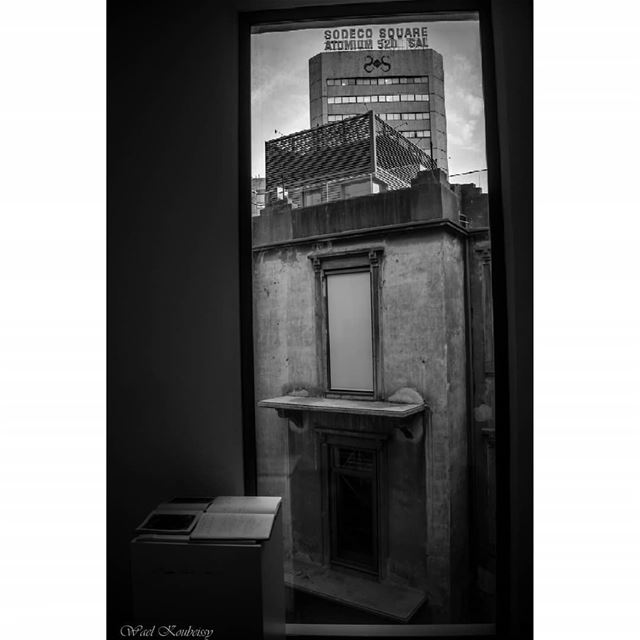 bnw  window  old  modern  contrast  blackandwhite  building  books  view ... (Beirut, Lebanon)
