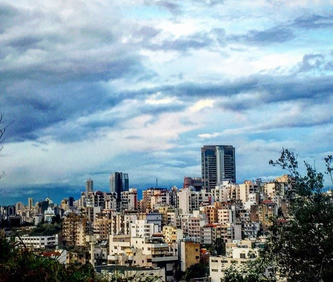 clouds over the  town ☁️💙 winter  season  rainyday  cold  weather ... (Beirut, Lebanon)