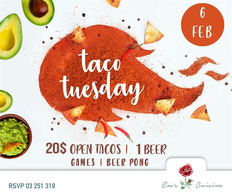 Every Tuesday is TACO TUESDAY at Em's. Join us this Tuesday at 9PM for an... (Em's cuisine)