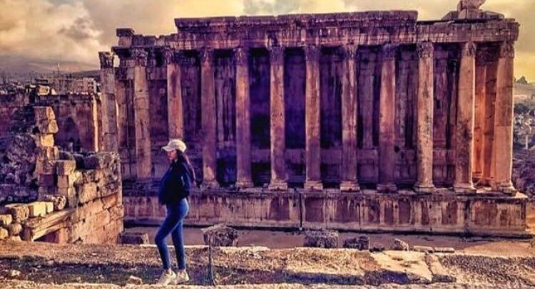 Lovely girl in lovely place 😍😍😍📷 @fatima_a_jaafar  Baalbeck Temples... (Temple of Bacchus)