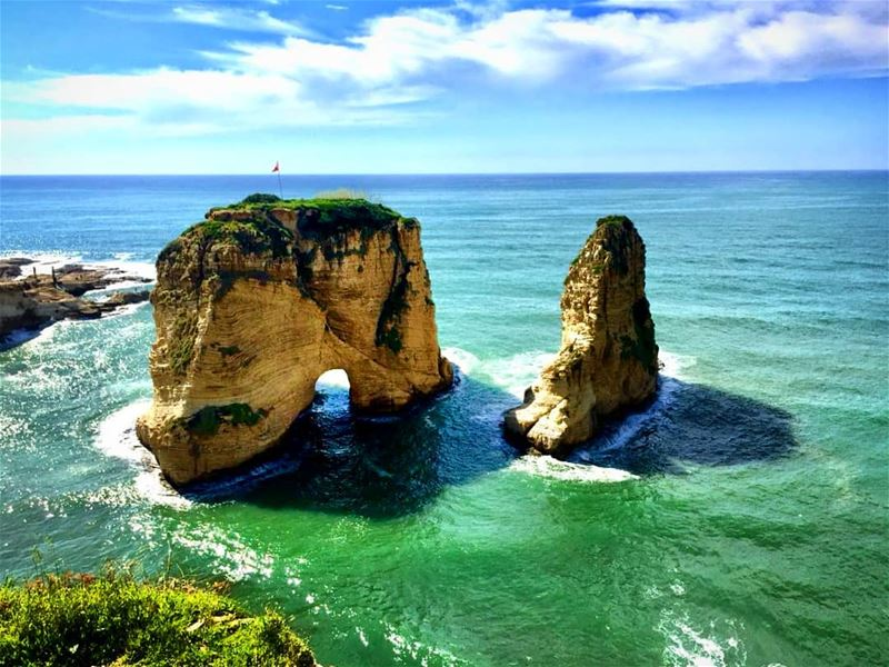 One of the Natural Wonders in  Beirut  Lebanon raouche  pigeonrocks  sea ... (Al Raouché Rock)