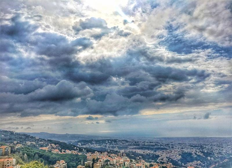 Cloudy weather blue horizon heart warming days...... (Mount Lebanon Governorate)