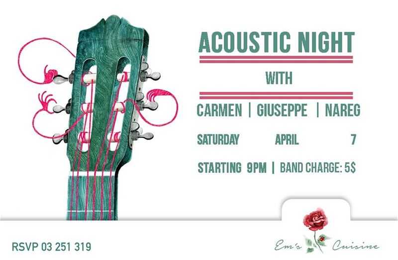 Em's going Acoustic this Saturday! Event starts at 9PM. Band Charge 5$.... (Em's cuisine)