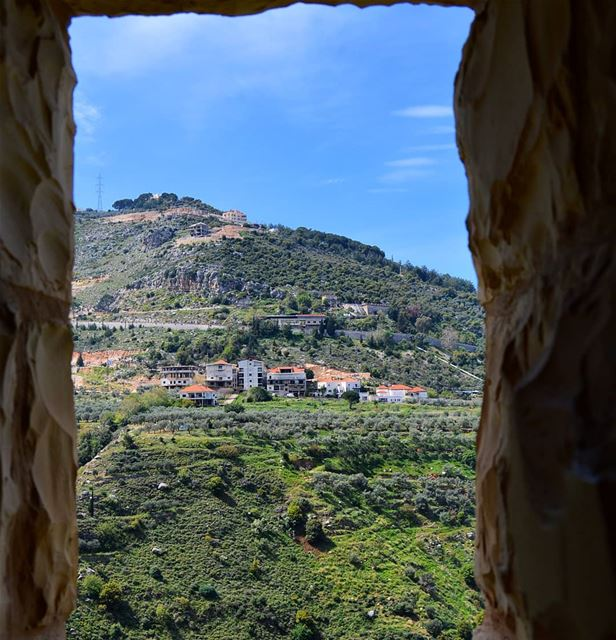 view  mountains  village  valley  monastery  window  houses  goodvibes ... (Koûsba, Liban-Nord, Lebanon)