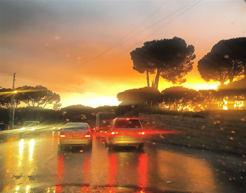 Rain and sun reflection 🌇 Sunset  holiday beauty  naturebeauty😍 ... (Beirut, Lebanon)