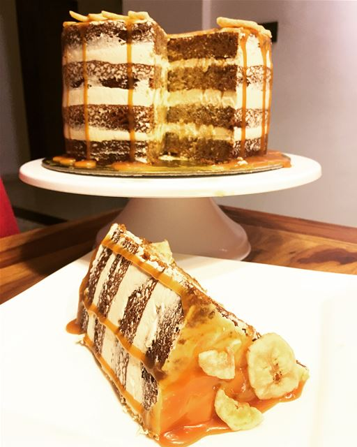 Banana Salted Caramel Naked Cake.Swipe Left To See More Of The Process.... (Beirut, Lebanon)
