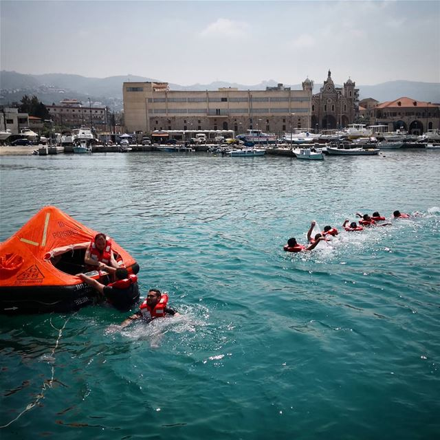 Life raft training -  ichalhoub in  Batroun north  Lebanon shooting with a...