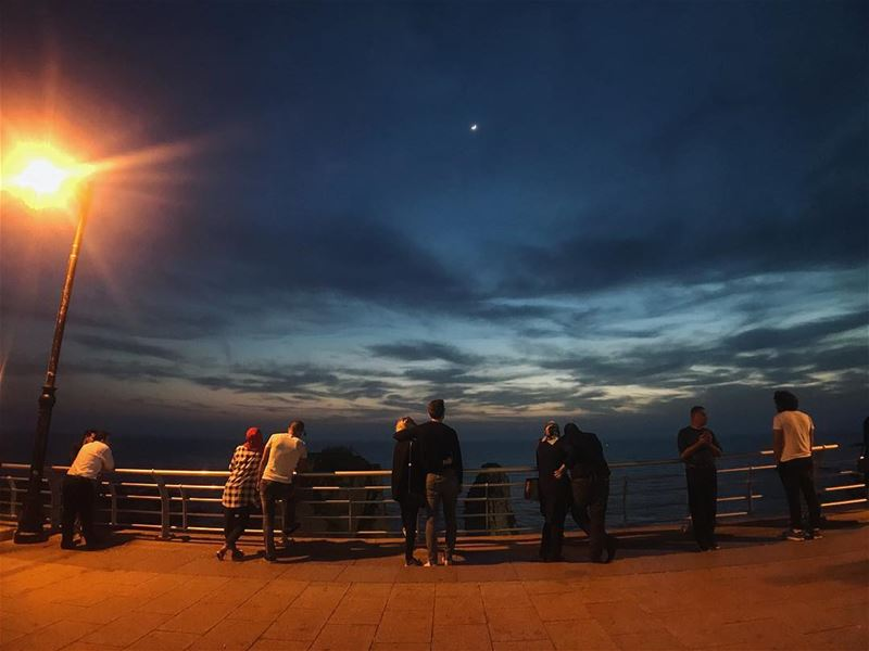 The gathering.......... corniche  couples  sky lights clouds ... (Ar Rawshah, Beyrouth, Lebanon)