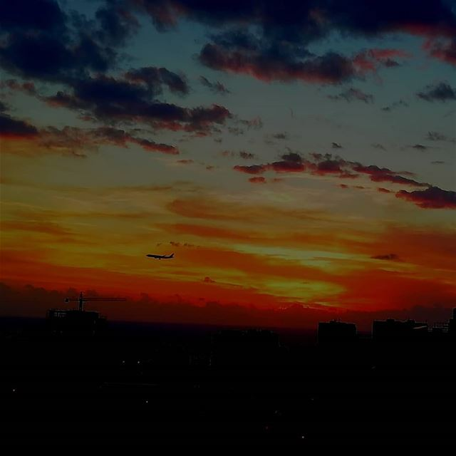 colorfulsky  sunset airplane  beirut ...